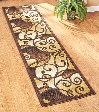 Tan Scroll Extra-Long Decorative Runner Rugs