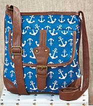Printed Canvas Crossbody Bags - Anchor