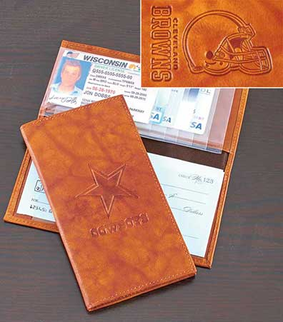 NFL Leather Wallets or Checkbook Covers