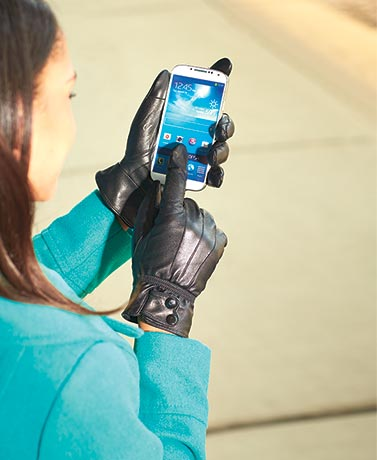 Genuine Leather Texting Gloves