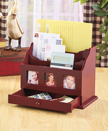 Desktop Organizer with Drawer & Frames