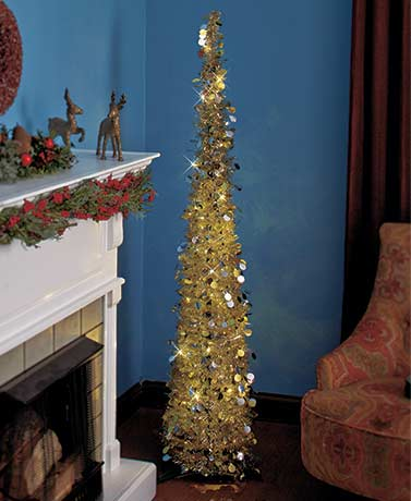 "GoldSilver 65"" Lighted Christmas Tree"