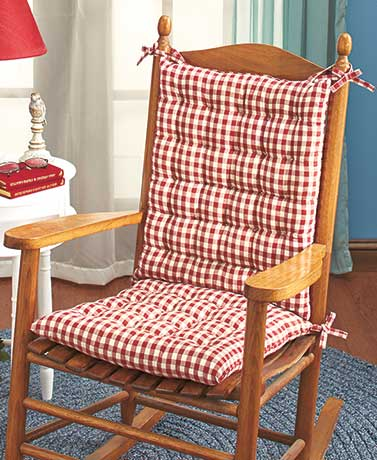 2-Pc. Country Check Rocking Chair Cushion Sets