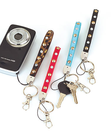 Set of 4 Studded Wristlet Key Chains
