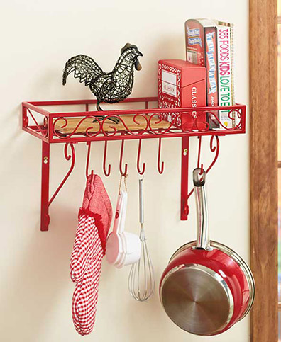 Kitchen Display Rack with Hooks