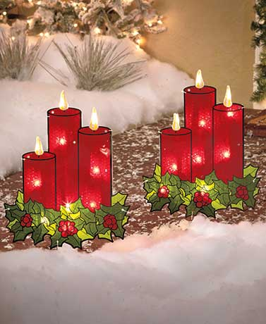 Set of 2 Lighted Candle Stakes