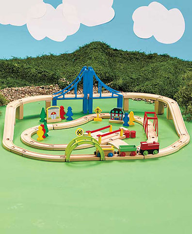 60-Pc. Wood Train Set & Storage Tub