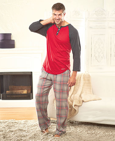Men's Henley Top and Flannel Pant Sets