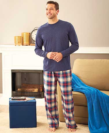 Men's Knit Top and Flannel Pant Sets