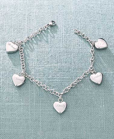 Personalized Five Hearts Name Bracelets