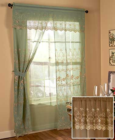 6-Pc. Complete Embroidered Curtain Sets
