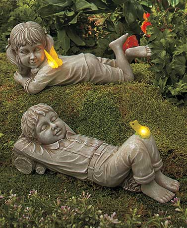 Solar Daydreaming Kid Statues