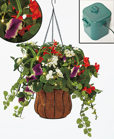 Lighted Flower Hanging Baskets