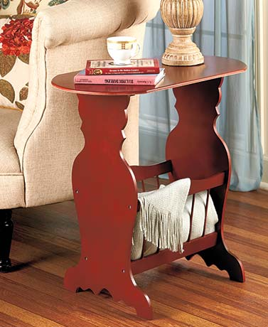 Wooden Side Table with Magazine Rack
