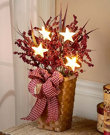 Lighted Country Berry Basket