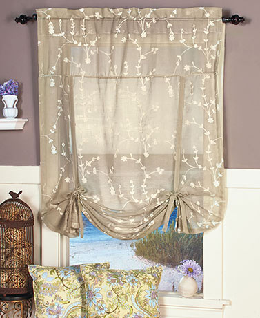 Savannah Embroidered Tie-Up Curtain