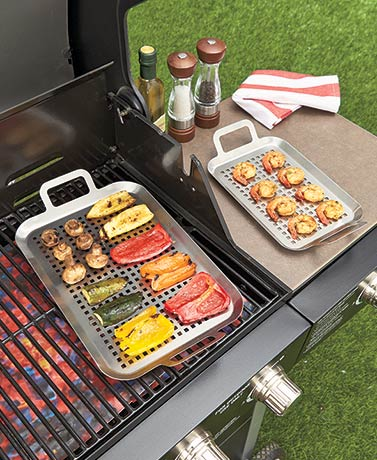 Set of 2 Stainless Steel Grill Toppers