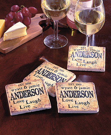 Sets of 4 Personalized Travertine Stone Coasters