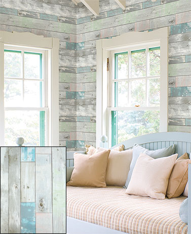 Distressed Wood Decorative Prepasted Wall Covering