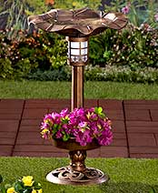 Solar Lighted Birdbath with Planter