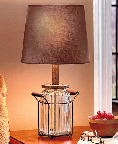 Rustic Glass Jar Table Lamp Vintage Country Living Room Bedroom Lighting Decor Ebay