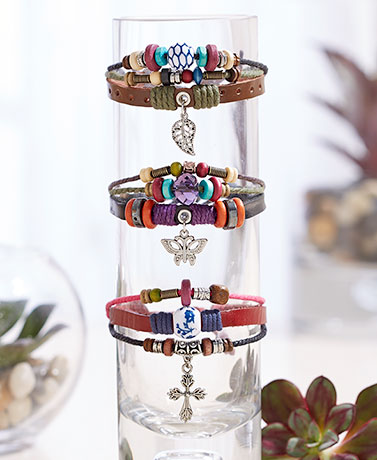 Leather Triple-Strand Charm Bracelets