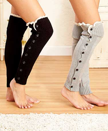 Over-the-Knee Legwarmers with Buttons & Lace