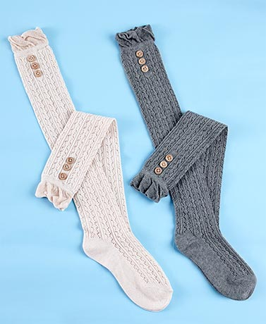 2-Pair Over-the-Knee Socks with Buttons