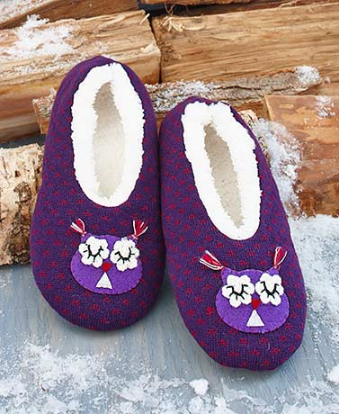 Sherpa-Lined Hoot Owl Slippers