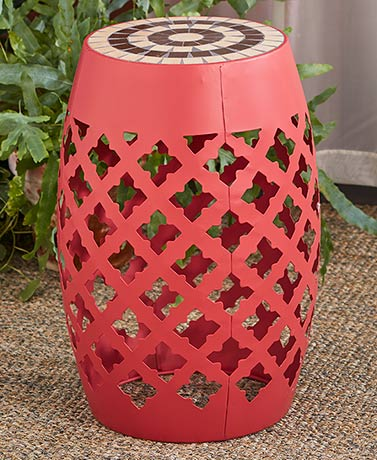 Mosaic Top Metal Accent Stool - Coral