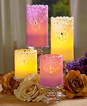 Sets of 2 LED Lace Candles