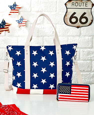 Stars and Stripes Canvas Tote or Wallet