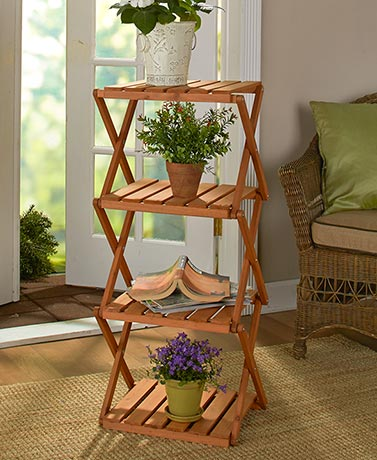 4-Tier Foldable Wood Shelving