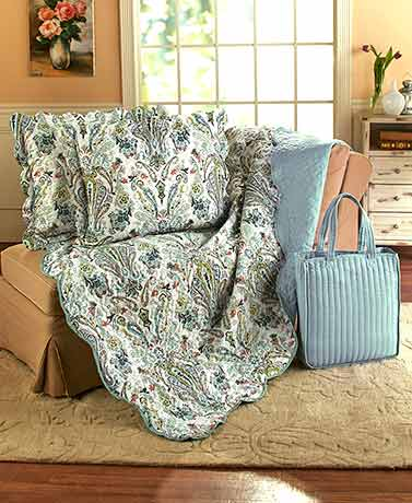 4-Pc. Blue Paisley Quilt, Shams, and Tote Set