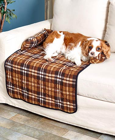 Plaid Bolstered Pet Couch Covers
