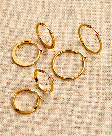 3-Pair Stainless Steel Hoop Earrings