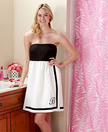 Women's Embroidered Monogram Bath Wraps