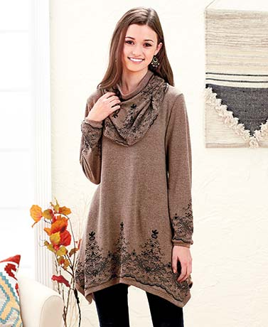 Women's Sweater Knit Tunic and Scarf Sets