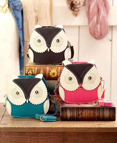Patchwork Leatherette Owl Crossbody Bags