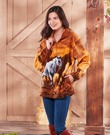 Women's Plush Wildlife Art Jackets