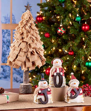 Burlap Christmas Tree or Joy Snowmen Set