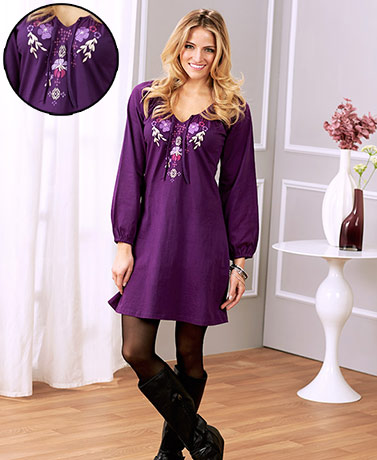 Women's Embroidered Knit T-Shirt Dresses
