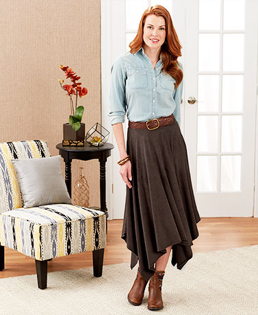Women's Dark Brown Faux Suede Handkerchief Hem Skirt