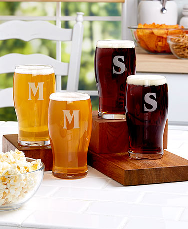 Sets of 2 Monogram Pub Glasses