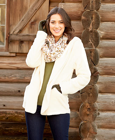 Women's Cozy Plush Open Front Jackets