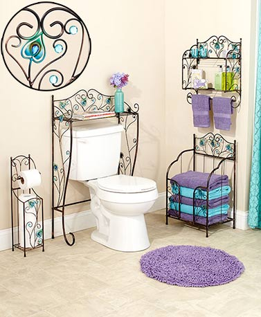 Jeweled Peacock Bathroom Collection