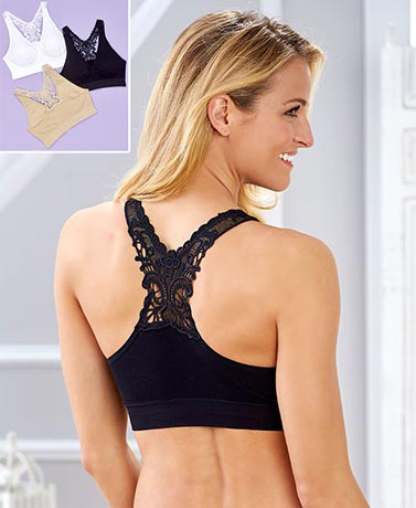Set of 3 Butterfly Back Comfort Bras