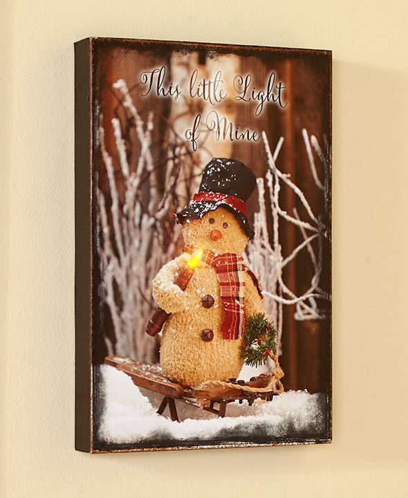 This Little Light Of Mine Country Snowman Home Accent