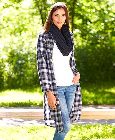 Women's and Women's Plus Long Plaid Cardigans