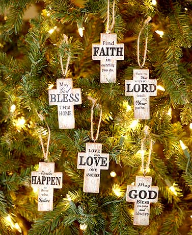 Set of 6 Sentiment Cross Ornaments